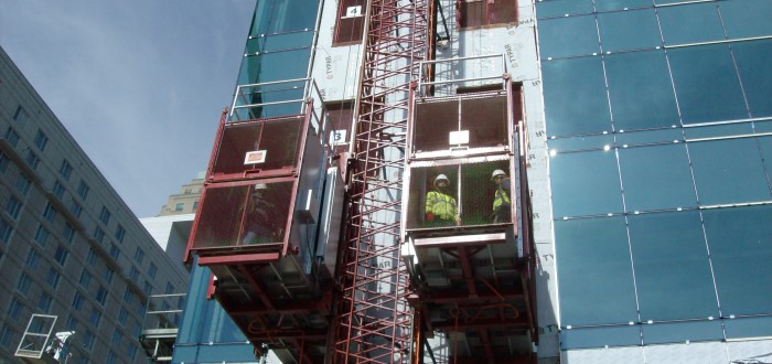 Construction lift in Raleigh Durham NC